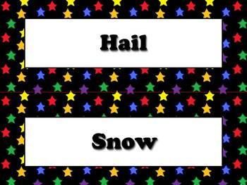 Precipitation Vocabulary Strips for Calendar - Superstars Theme
