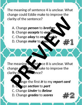 STAAR Editing Word Choice - 20 Task Cards - 4th and 7th
