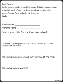 Preconference Form for Parent Teacher Conferences FREE PRINTABLE