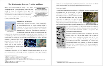 Predator-Prey Relationship - Science Reading Article - Grades 5-7