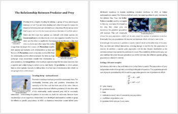 Predator Prey Relationships - Science Reading Article - Grade 8 and Up