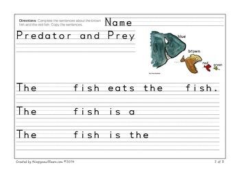 Predator and Prey Writing Practice