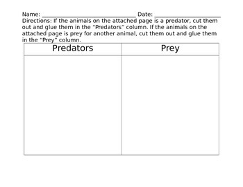 Predators and Prey Chart