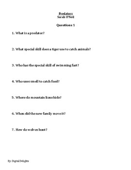 Predators by Sarah O'Neil Reading Comprehension Questions