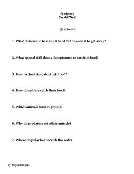 Predators by Sarah O'Neil Reading Comprehension Questions