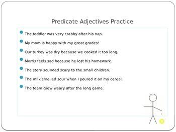 Predicate Adjective Power Point Presentation