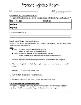 Predicate Adjective Worksheets & Teaching Resources | TpT