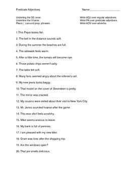 Predicate Adjective Sheet
