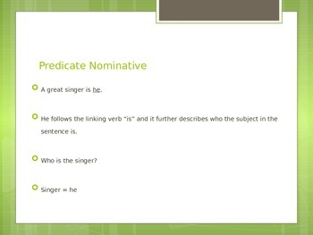 Predicate Nominative (Noun) Introduction and Practice