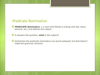 Predicate Nominative (Noun) Introduction and Practice