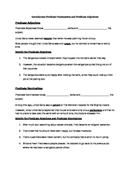 Predicate Nominative Worksheet | Teachers Pay Teachers