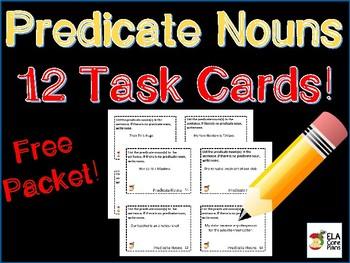 Test Prep! Predicate Noun Task Cards ~ FREEBIE!