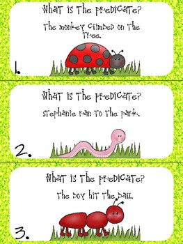 Predicate of a Sentence Task Cards
