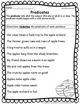 Predicates -- Apple Theme -- TEKS aligned