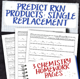 Predict Products for Single Replacement Chemical Reactions Homework Worksheets
