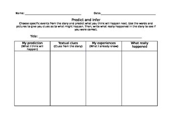 Predict and Infer Graphic Organizer