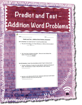 Predict and Test - Addition Word Problems Assessment