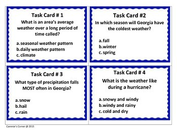 Predict the Weather Task Cards 4th Grade Science