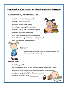 Predictable Questions for Narratives, Non-Narratives & Poetry Pack