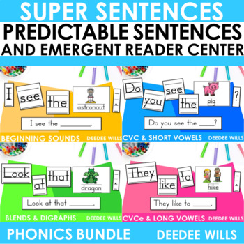 Predictable Sentences | Simple Sentences PHONICS  BUNDLE
