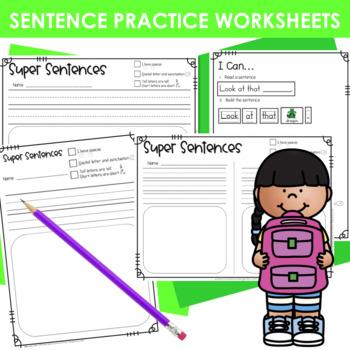 Predictable Sentences | Simple Sentences PHONICS  Blends and Digraphs