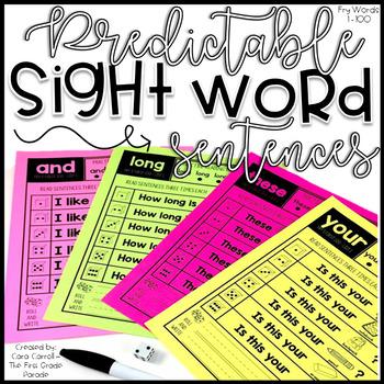 Predictable Sight Word Fluency Sentences - Fry Words 1-100
