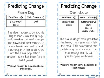 Predicting Changes in Ecosystems Task Cards {Higher Level Thinking}