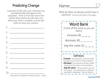 Predicting Changes in Ecosystems Task Cards with QR Codes
