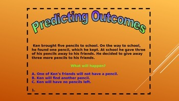 Predicting Outcomes Task Card Powerpoint for Daily 5 Stations and DIY for PBL