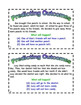 Predicting Outcomes Task Cards