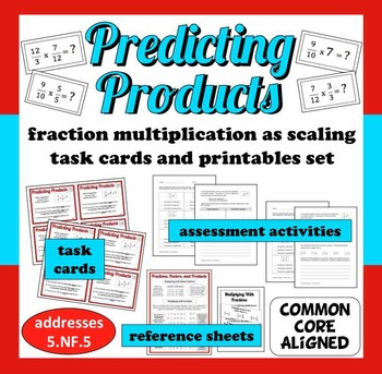 Predicting Products - fraction multiplication as scaling task cards + printables