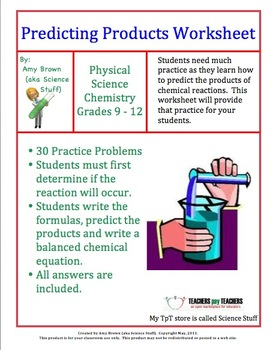 predicting products of chemical reactions worksheet answers  Termolak