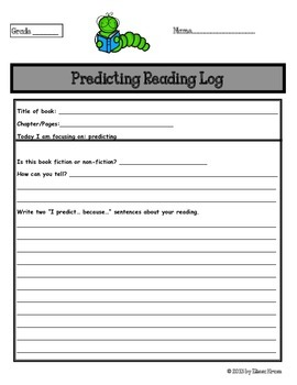 Predicting Reading Log for Shared Reading, Guided Reading, Centers, & More