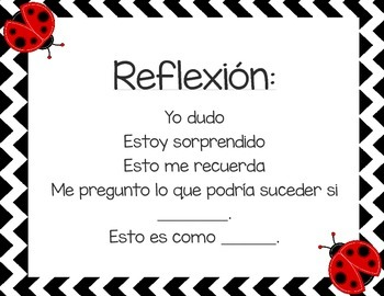Predicting, Reflection, Questioning, Evidence & Conclusion (Spanish)