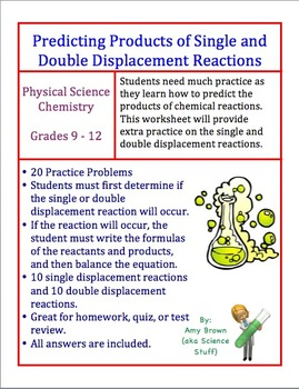 Predicting the Products of Single and Double Displacement Reactions