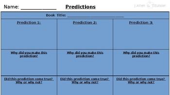 Prediction Reading Response