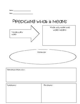 Prediction Vocabulary Worksheet
