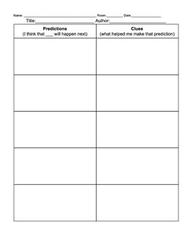 Prediction and Clues Graphic Organizer Simple