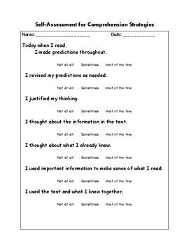 Prediction and Reading Self-Assessment Rubric