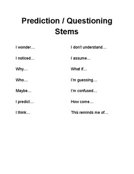 Predictiona and Questioning Stems