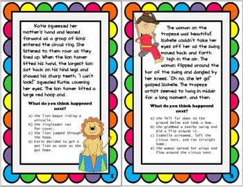 Prediction Practice: Circus Theme Task Cards!
