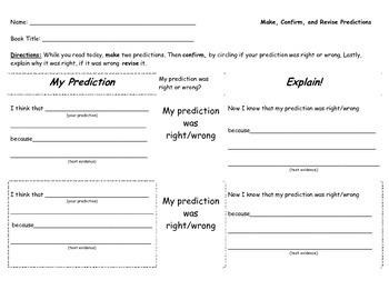 Predictions graphic organizer