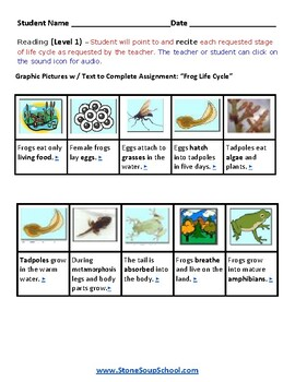 K - 2   Life Cycle of Frog  -  Autism Spectrum  - Science
