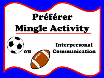 Préférer Mingle Activity (French preferences)