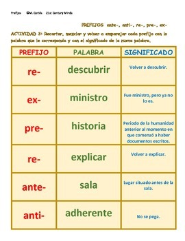 Prefijos Vol 2: anti- ante- pre- re- ex- juego - Prefixes in Spanish