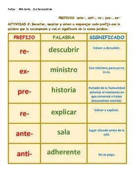 Prefijos Vol 2: anti- ante- pre- re- ex- juego - Prefixes in Spanish