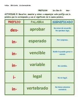 Prefijos Vol 1: in- des- juego - Prefixes in Spanish