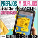 Prefijos sufijos y lexemas | Juego de escape | Spanish Prefixes Suffixes Game