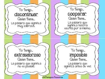 Spanish Suffix and Prefix- PREFIJOS Y SUFIJOS