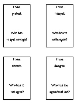 Prefix Activities- I have...Who has... Cards & Center Activity